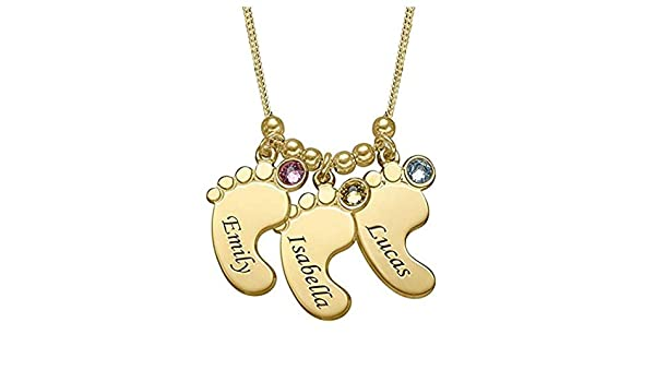 Shiny Alice Baby Feet Necklace with Birthstone Mother Necklace Customized Kids Name Necklace Family Jewelry