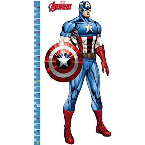 boy Height Measure Wall Sticker for Kids Rooms Super Hero Captain America Anime Poster 3D Vinyl Growth Chart Mural