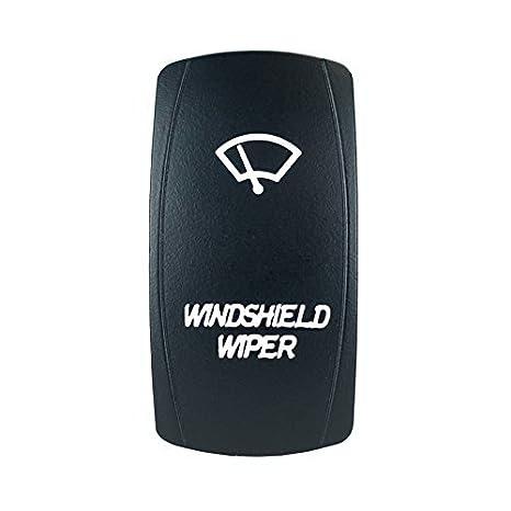 Laser con retroiluminación blanco Rocker Interruptor del limpiaparabrisas 20 A 12 V on/off LED luz STV Motorsports: Amazon.es: Coche y moto