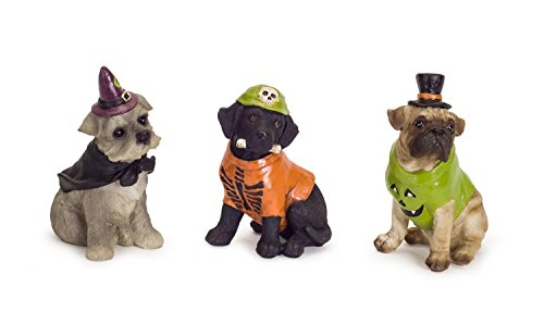 Diva At Home Set of 3 Vibrantly Colored Halloween Themed Dog Resin Figurine -