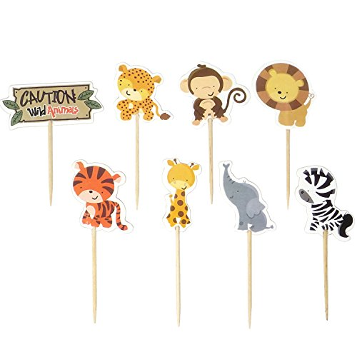 Honbay 48PCS Double Sided Zoo Animal Theme Dessert Muffin Cake Cupcake Toppers Picks Cake Decoration for Kids Animal Themed Party, Baby Shower or Birthday Party Decoration,etc]()