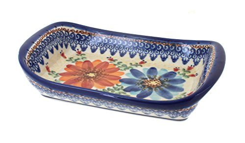 Polish Pottery Autumn Burst Small Rectangular Tray with Handles