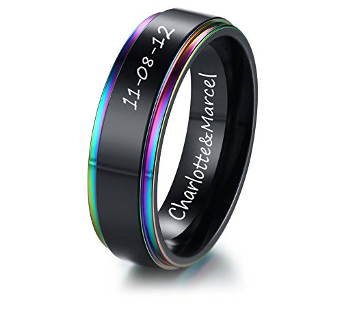 XUANPAI Personalized Custom Two-Tone Stainless Steel Domed Weeding Ring Band Lgbt Couples Rings,Size (Id Two Tone Ring)