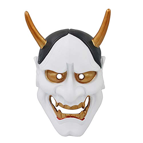MICG Buddhist Evil Mask & Vintage Horror Hannya Mask for Masquerade Resin Halloween Costume Devil Theme Party]()