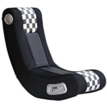 X-Rocker Ace Bayou Drift Sound Chair, Black/White Checkered Flag
