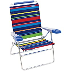 "Rio Beach 15"" Extended Height 4 Position Folding Beach Chair - Pop Surf Stripes"