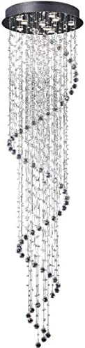 Linght D24 X H138 Round Modern Spiral Rain Drop Design Crystal Chandelier for Tall Ceiling,Stairs etc