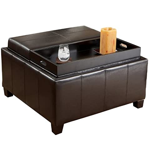 Best Selling Mansfield Leather Espresso Tray Top Storage Ottoman (Round Tray For Ottoman)