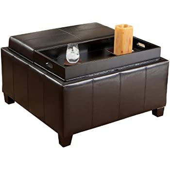 Awesome Best Selling Mansfield Leather Espresso Tray Top Storage Ottoman
