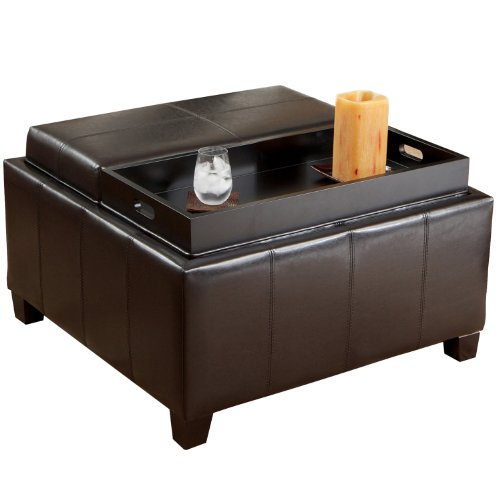 Best Selling Mansfield Leather Espresso Tray Top Storage Ottoman by Best-selling