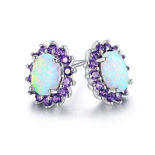 (Barzel 18K White Gold Plated Created Opal Flower Stud Earrings (Purple))