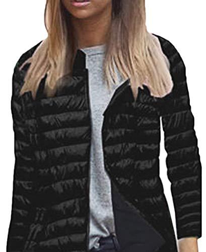 Outwear Costume Cappotto Donna Huixin Piumino Giacca Manica Comodo Cappuccio Nero Con Solidi Casual Calda Con Leggero Cerniera Lunga Colori Invernali AUpRW6UT