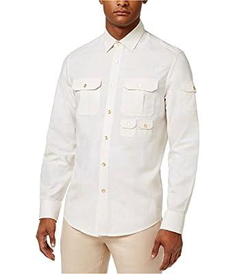 Sean John Mens Multi-Pocket Button Up Shirt