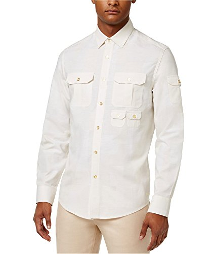 Sean John Mens Linen Blend Long Sleeves Button-Down Shirt Ivory -