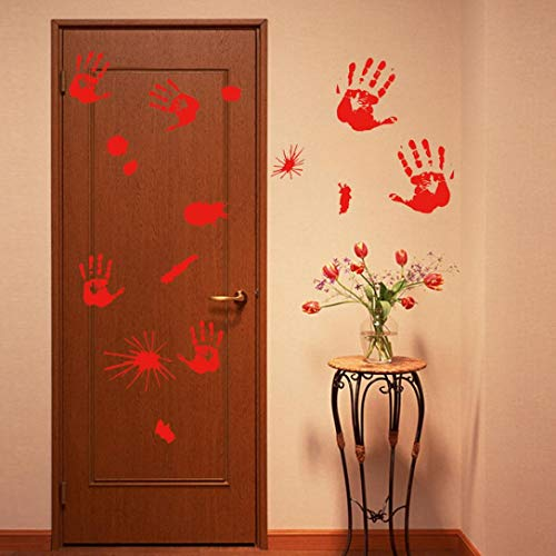 Halloween Decoration Stickers Set,Pausseo Bloody Handprint Footprints Floor Clings Vampire Zombie Party Decor Wall Decal Window Door Cover Carved Sticking Art Decor Crafts Horror Wall Sticker (10PCS) ()