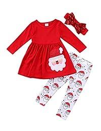 NANYUAYA Baby Xmas Outfit Santa Claus Print Long Sleeve Dress Top+Pants Clothes Set