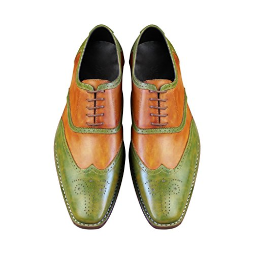 ae3ca322f7a Goodyear Craft Leather Shoes Men s oxfords Hand Made Shoes Hand Painted  Colors Green Brogue Lace Up
