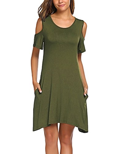 Halife Women's Summer Cut Out Shoulder Tunic Dress Casual Loose T Shirt Dress Army Green XL