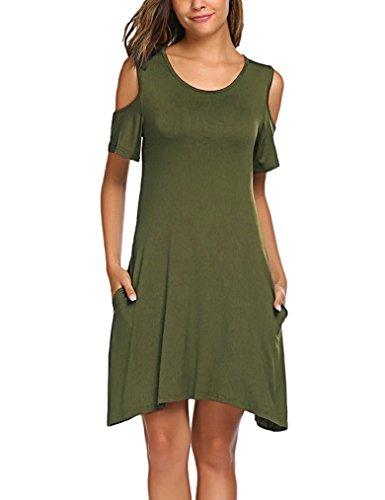 Halife Women's Summer Cut Out Shoulder Tunic Dress Casual Loose T Shirt Dress Army Green XL