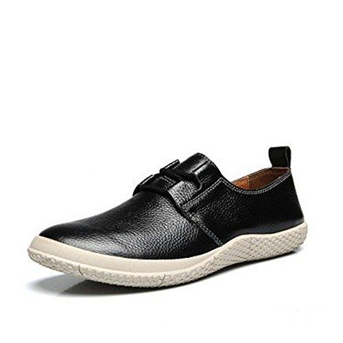 de de Hombres Cordones la Zapatos resbalón de Inferior Cuero de sin de la Negro Primavera los la Parte Zapatos Casuales qtx5Xgw