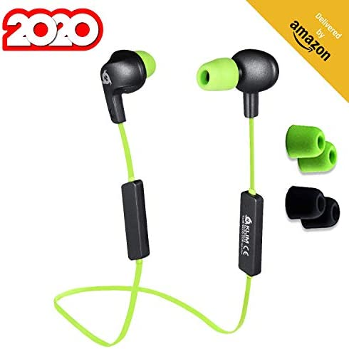 KLIM Pulse Bluetooth 4.1 Earphones – New 2020 Version – Wireless Earbuds Noise Reduction Perfect for Sport, Music, Phone Calls, Gaming, etc. Magnetic New Shape Memory Tips – Green