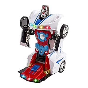 WolVol Transformers Robot Police Car Toy with Lights and Sounds for Kids, with Bump and Go Action