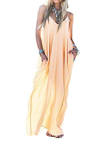 Mixmax Women's Strappy Casual Loose Boho Chiffon Pocket Long Maxi Dress (Asian XL, Apricot)