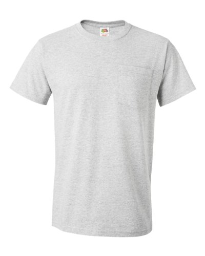 Fruit of the Loom Mens 5 oz. 100% Heavy Cotton HD Pocket T-Shirt (3931P) (Pack of 4)- Ash, XL