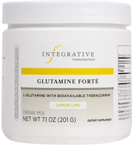 Integrative Therapeutics - Glutamine Forté - L-Glutamine with Bioavailable Theracurmin - Lemon Lime Flavor - 7.1 oz