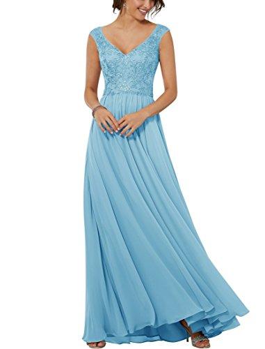 3b68c12e134 XJLY V-Neck Beaded Appliques Sleeveless Chiffon Evening Dress Bridesmaid  Dress