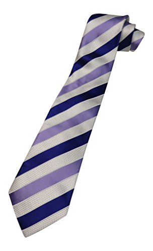 Men's Donald Trump Signature Collection Necktie Purple & Ivory Striped with Gold - Signature Collection Trump