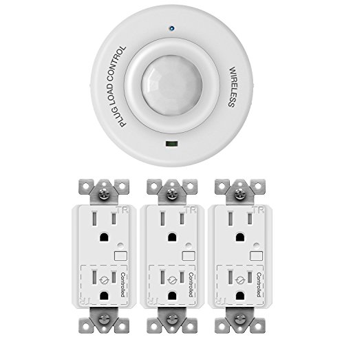 TOPGREENERTGPL15R-3PCS+TGBPC Wirless PIR Ceiling Sensor and 3 Pack Plug Load Control 15A Duplex Receptacle Outlet, Occupancy Motion Detector Smart ON/OFF Switch by TOPGREENER