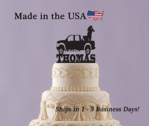 Bride and Groom in Truck Wedding Cake Topper with FREE Keepsake Base, Truck, Cake Decorations, Last Name Topper, 4x4, Country Wedding Decor, Anniversary, Trucking, FREE Keepsake Base by EvyAnn Designs (Image #4)