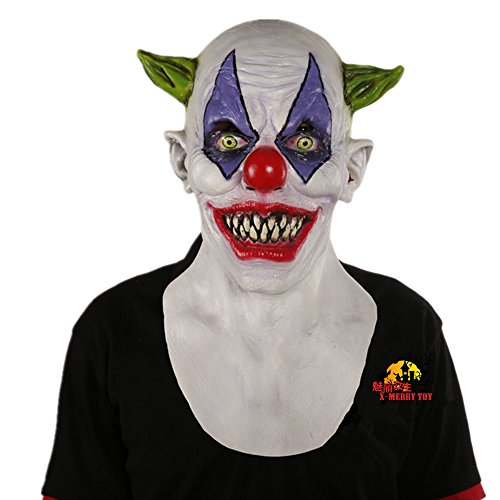 [X-Merry Scary Creepy Halloween Clown Evil Latex Mask - Green Horned Clown] (Halloween Clown Masks)