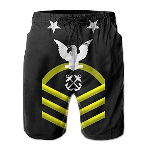(Hdecrr FFRE Navy Master Chief Petty Officer Shoulder Patch Rate Insignia Gold Men's Summer Casual Swimming Shorts Quick Dry Board Shorts with Pockets)