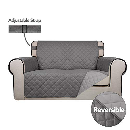 PureFit Reversible Quilted Sofa Cover, Spill, Water Resistant Slipcover Furniture Protector, Washable Couch Cover with Non-Slip Foam and Adjustable Strap for Kids, Pets (Loveseat, Gray/Light Gray)