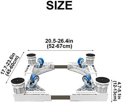 Base Lavadora Soporte con 4 Ruedas Pesado Base Frigorífico Antideslizante de Acero Inoxidable Soporte para Secadora Ajustable 52-67cm Base Móvil de Refrigerador - 500kg
