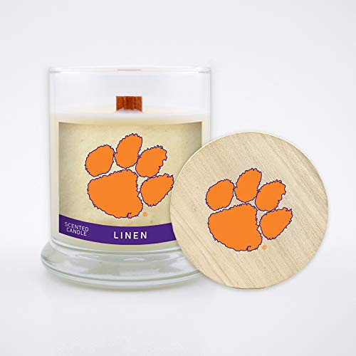 Worthy Promo NCAA Clemson Tigers 8 oz Linen Scented Soy Wax Candle, Wood Wick and Lid