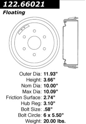 Centric Parts 122.66021 Brake Drum