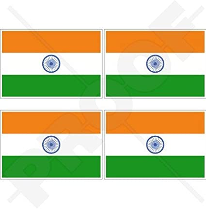 2 Pack Indian FLAGS India 5inch VINYL DECAL BUMPER STICKER