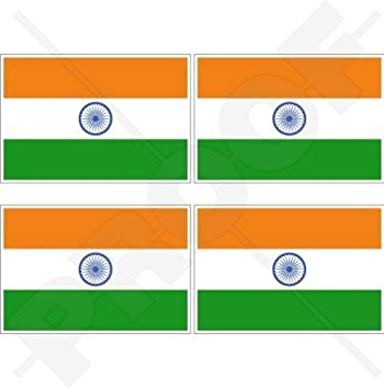 "INDIA Indian Flag ASIA 2"" (50mm) Vinyl Bumper-Helmet Stickers, Decals"