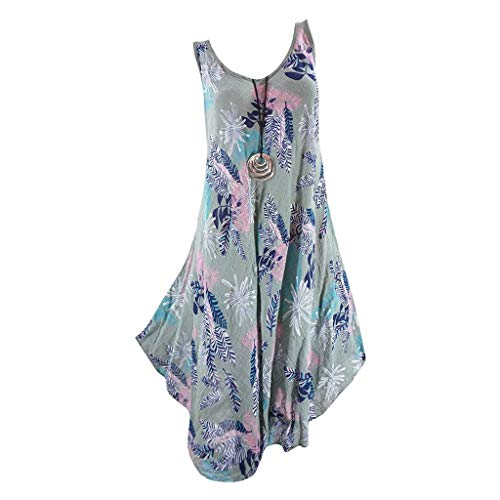 Zlolia Women's Floral Print Vest Straight Dress Sleeveless Round Neck Skirt Ladies Summer Beach Cocktail Party Dress Army ()