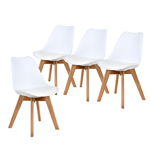 NOBPEINT Eames-Style Mid Century Dining Chairs,Set of 4(White)
