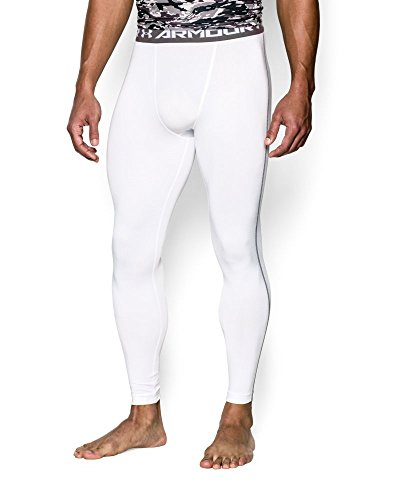 Under Armour Men's HeatGear Armour Compression Leggings, White /Graphite, X-Large by Under Armour (Image #2)