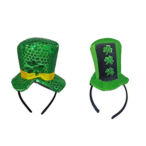 Fairy Baby 2Pc Saint Patrick's Day Costume Green Leprechaun Top Hat Cute Head Boppers Size 5.111.4in (Clover) -