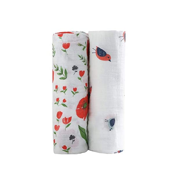 CareBabyWorld Muslin Baby Swaddle Blankets Floral Swaddling Blanket for Toddler 47×47