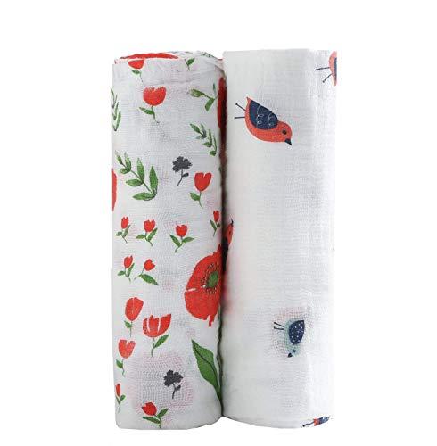 CareBabyWorld Muslin Baby Swaddle Blankets Floral Swaddling Blanket for Toddler 47x47