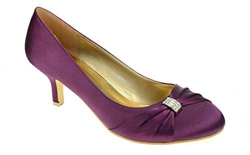 Womens Fersen Gericht Wedding Satin Chic ist der niedrige Schuhe Brautabend der Ladies Feet Lila ZqzXfwxBB
