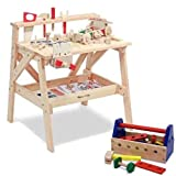 Melissa & Doug Wooden Project Workbench Plus 24 Piece Take Along Tool Kit Bundle