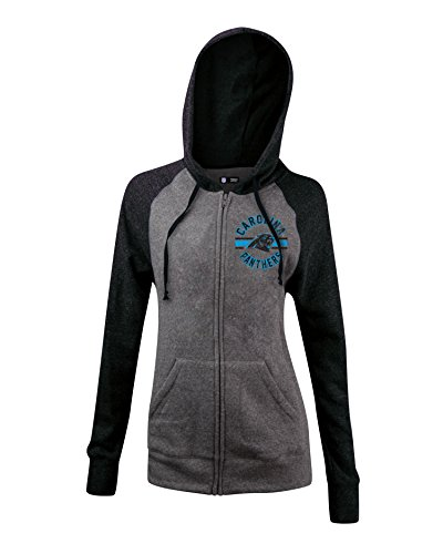 Nfl Carolina Panthers Womens Tri Blend Fleece Zip Up Hoodie With Pockets  Medium  Gray